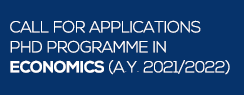 Call for applications PhD programme in Economics (A.Y. 2021/2022)