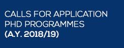 Calls for application PhD programmes (A.Y. 2018/19)
