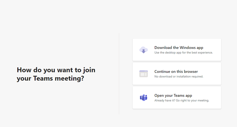 How do you want to join your Teams meeting?